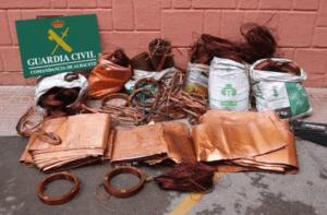 La Guardia Civil de Albacete desarticula un grupo criminal dedicado a cometer robos de cobre en explotaciones agrícolas